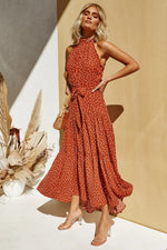 High Neck Polka Dot Long Red Summer Dress