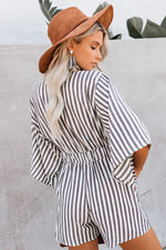Striped White and Grey Bat-wing Romper with Pockets