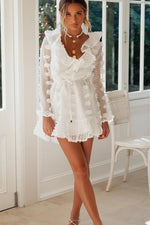 V-Neck Vintage Short White Dress