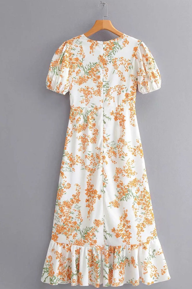 V-Neck Hi-Low Wrapped Floral Summer Dress