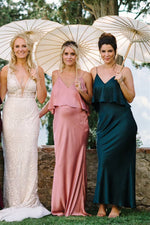 V-Neck Straps Solid Mermaid Satin Bridesmaid Dress
