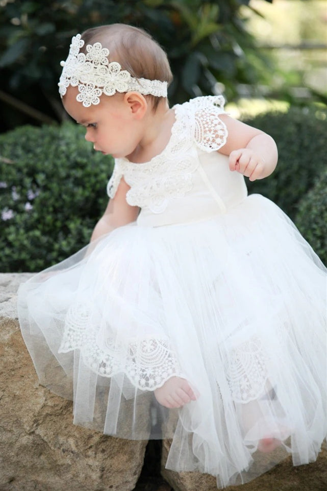 Cute Toddler White Flower Girl Dress with Patched Lace