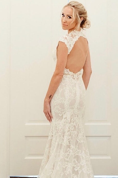 Deep V Neck Mermaid Long Off White Lace Wedding Dress