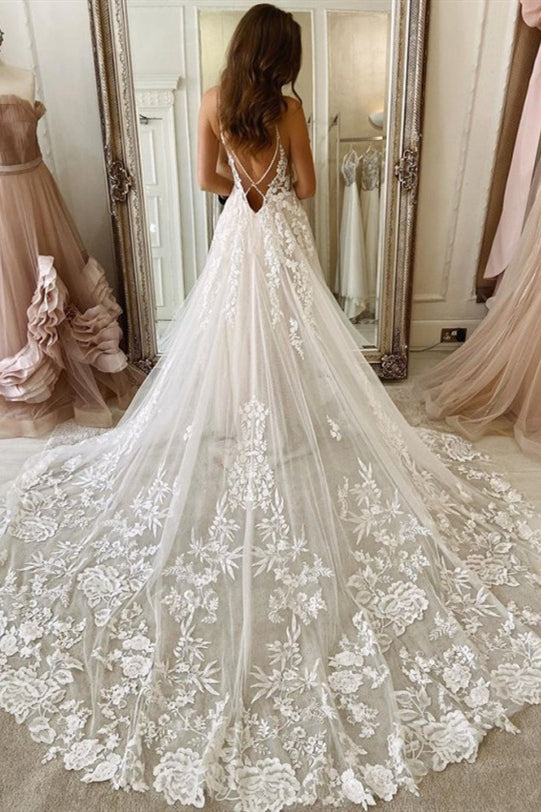 A-line Straps Long White Tulle Bridal Dress with Lace