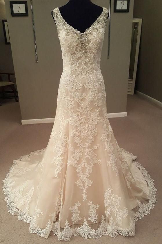 Mermaid Long Champagne Bridal Dress with Lace
