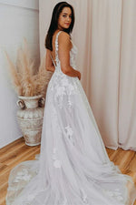 V Back Long White Wedding Dress with Lace