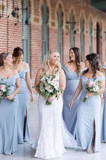 Mermaid Off Shoulder Dusty Blue Bridesmaid Dresses with Slit