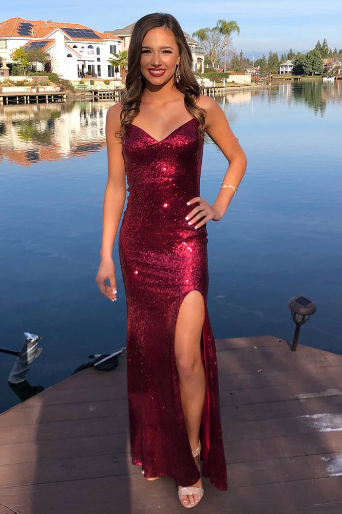 Glittery V-Neck Mermaid Long Burgundy Prom Dress