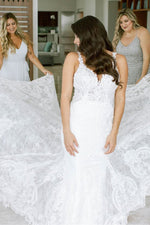 Mermaid Long Open Back White Lace Wedding Dress