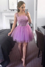Short Lilac Homecoming Dress with Lace Top