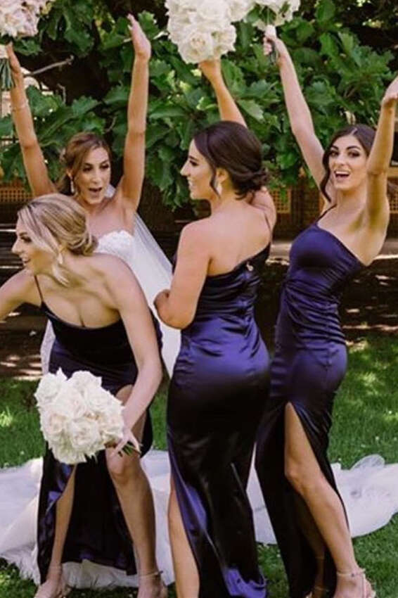 Mermaid One Strap Dark Purple Long Bridesmaid Dress with Slit