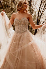 Elegant Strapless Champagne Wedding Dress with Beads