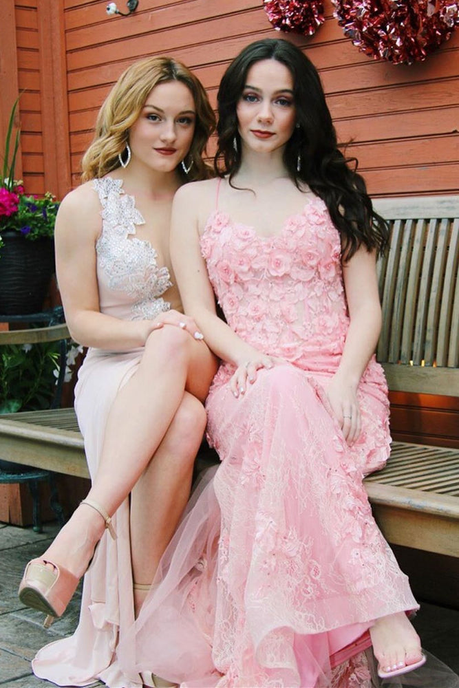 Mermaid Long Pink Prom Dress with Lace Appliques