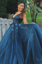 Sexy V-Neck Long Navy Blue Prom Dress with Appliques