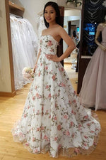 Elegant Strapless Long White Floral Prom Dress