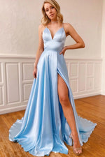 Baby Blue V-Neck Long Prom Dress with Slit