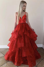 Glittery Straps Cascading Ruffles Long Red Prom Dress
