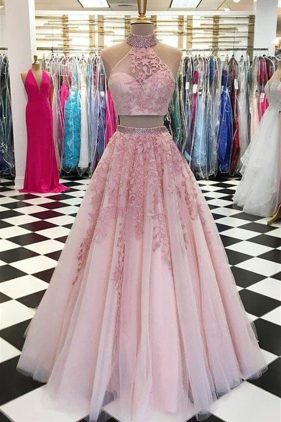 Two Piece High Neck Pink Long Prom Dress with Lace
