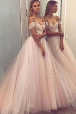Off the Shoulder A-line Pink Long Prom Dress