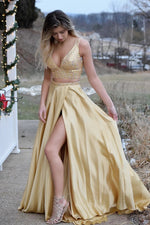 Two Piece V-Neck Long Gold Prom Dress with Slit