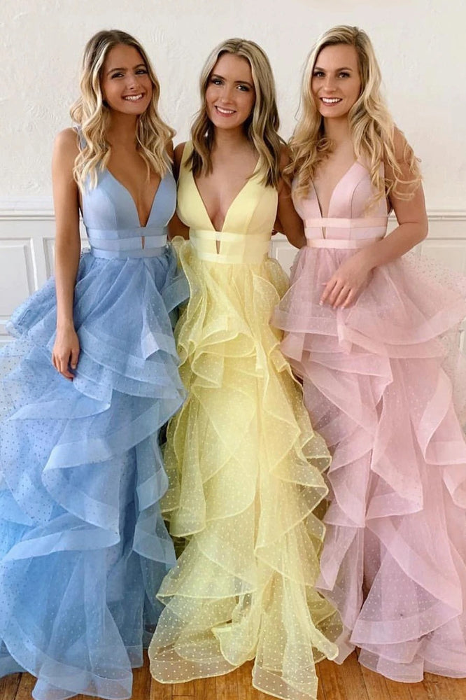 Plunging Neck A-line Cascading Ruffles Long Yellow Prom Dress