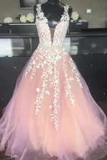 A-line Lace Appliques V-Neck Blush Pink Long Prom Dress