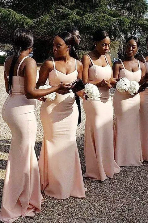 Spaghetti Strap Mermaid Pale Pink Long Bridesmaid Dress