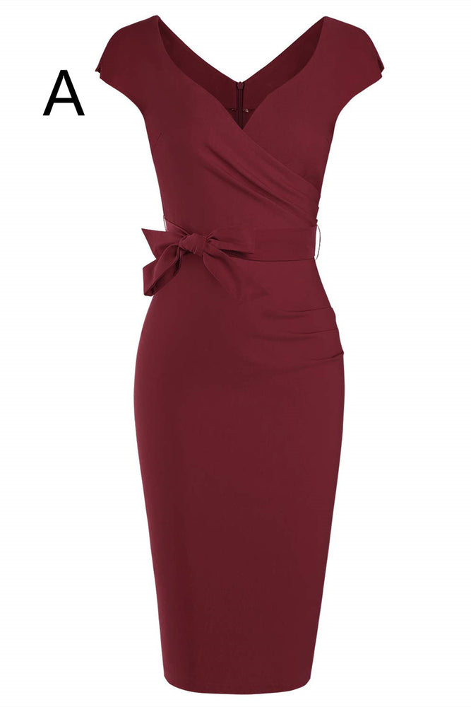 Cap Sleeves Mermaid Burgundy Mother of the Bride Dress with Sash