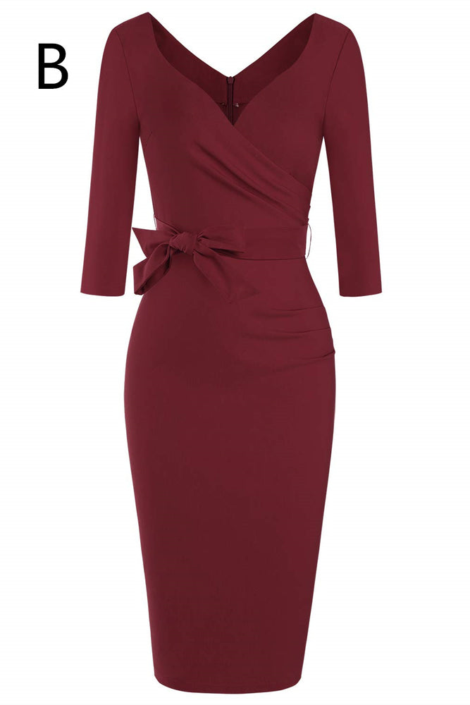 Long Sleeves Mermaid Burgundy Mother of the Bride Dress