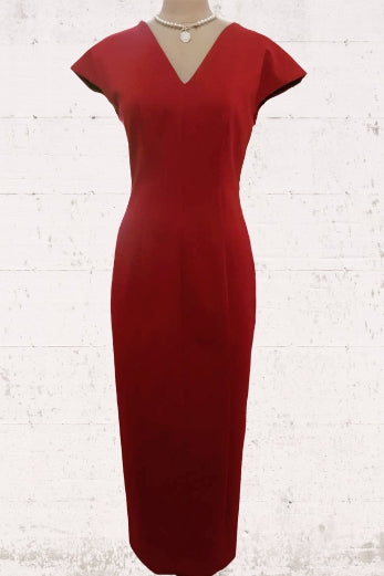 V-Neck Long Mermaid Red Mother of the Bride Dress