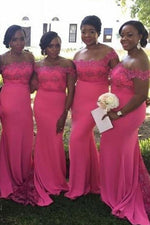 Off the Shoulder Mermaid Hot Pink Bridesmaid Dress with Lace