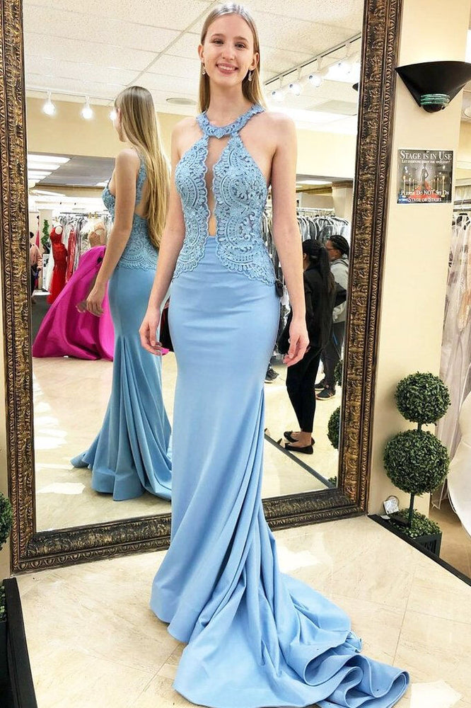 Open Back Mermaid Sky Blue Long Prom Dress