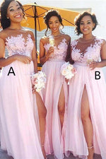 A-line Illusion Neck Long Pink Bridesmaid Dress with Appliques