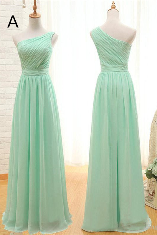 Mismatched A-line Long Mint Green Bridesmaid Dresses