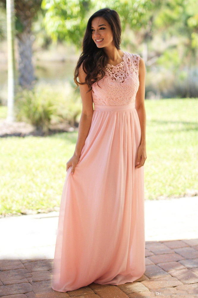 A-line Lace Bodice Long Pink Bridesmaid Dress