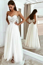 Elegant Sweetheart Long White Wedding Dress with Slit