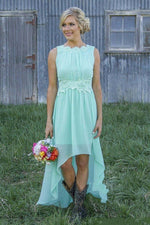 High Low Peach Long Bridesmaid Dress with Appliques