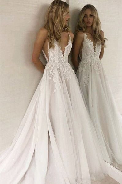 Deep V-Neck Open Back Long White Wedding Dress with Lace