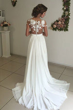 A-line Illusion Neck Long White Wedding Dress with Appliques
