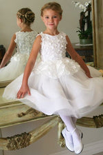 Princess Long White Flower Girl Dress with Appliques