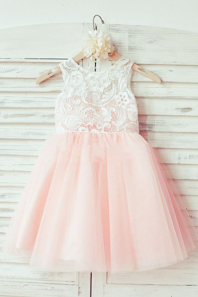 Cute Toddler Pink Flower Girl Dress with Lace Top