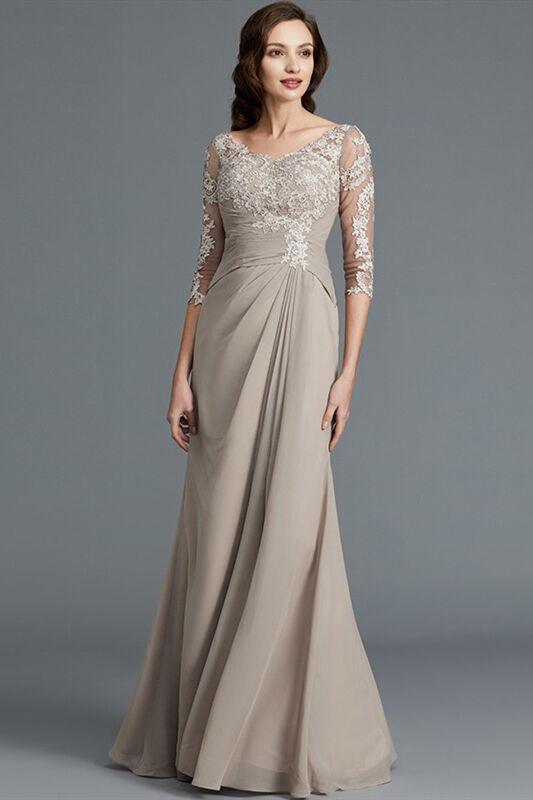 3/4 Sleeves Beige Mother of the Bride Dress with Appliques