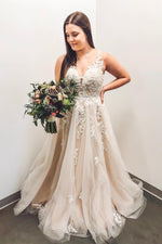 Long V-Neck A-line Ivory Wedding Dress with Lace Appliques