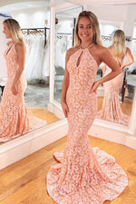 Halter Mermaid Lace Pink Long Prom Dress with Key Hole