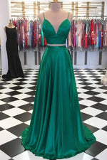 Two Piece A-Line Green Prom Dress with Bowknot Back