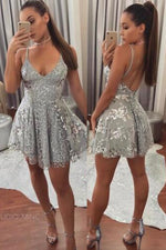 Fit and Flare Short Sequined Silver Party Dress