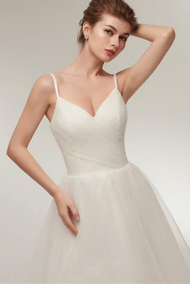 Spaghetti Strap High Low A-line Ivory Wedding Dress with Lace-Up