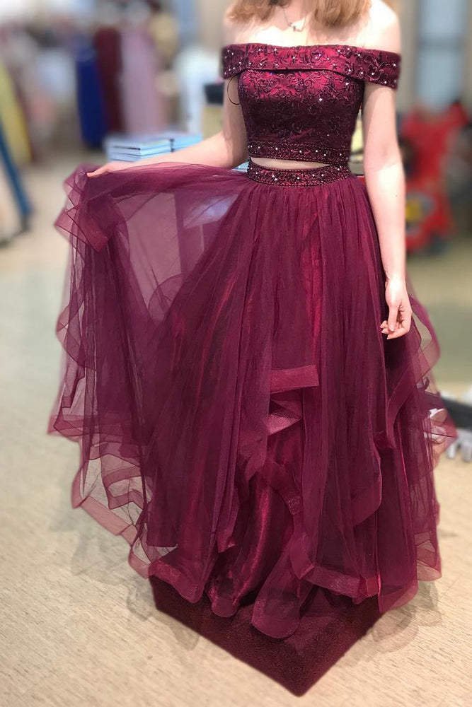Two Piece Layered Off Shoulder Beaded Burgundy Prom Dress
