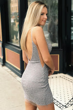 Straps V-Back Sheath Silver Homecoming Dress