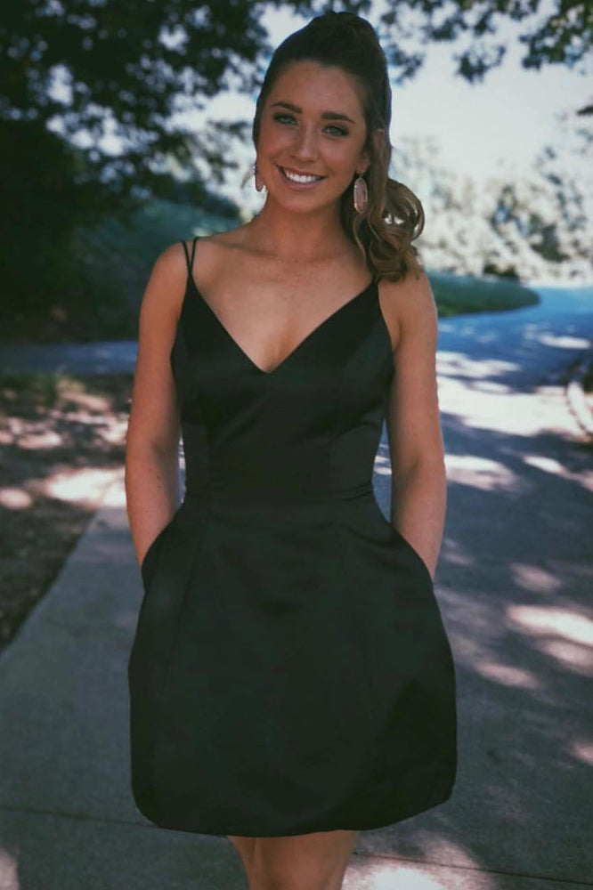 Double Spaghetti Straps Black Short Party Homecoming Dress